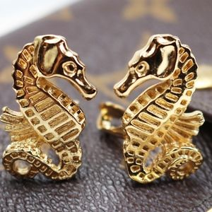 Vintage Christian Dior Gold Seahorse Earrings